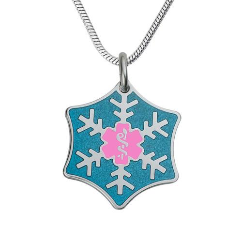 "Snowflake Custom Engraved Medical Alert Necklace, Emergency Medical ID Necklace,Medical Pendant Tag w/Free Engraving - 24/28"" Various Chain -Color Options"