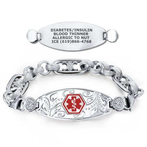 Divoti Custom Engraved Medical Alert Bracelets for Women, Stainless Steel Medical Bracelet, Medical ID Bracelet w/Free Engraving: Lovely Filigree Tag w/Neoclassical Chain—Color/Size