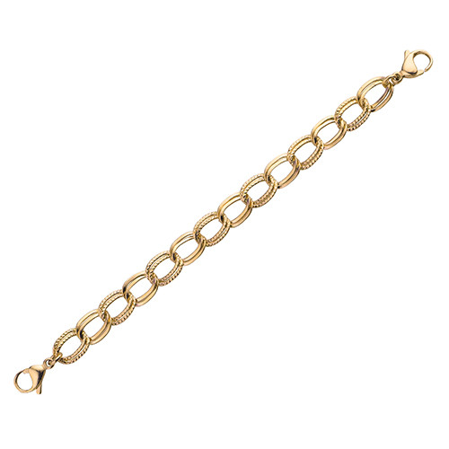 PVD Gold Double Link Chain for Interchangeable Medical Alert ID Bracelet - Size