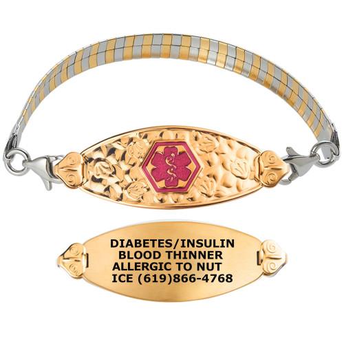 Divoti Custom Engraved Inter-Mesh RG/S Medical Alert Bracelet - Filigree Tag