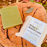 A bar rich with a powerhouse of oils including Hemp and Helichrysum, its also armed with Comfrey oil, and Passionflower petals infused in lavender hydrosol to provide a gentle, moisturising cleanse. Green clay assists to draw out skin impurities, leaving skin toned and refreshed. There's an air of sophistication with essential oils of earthy Patchouli, Vetiver and herbaceous Sage, laced with Citrus top notes and green notes of Cypress, Juniper Berry and Cedarwood.