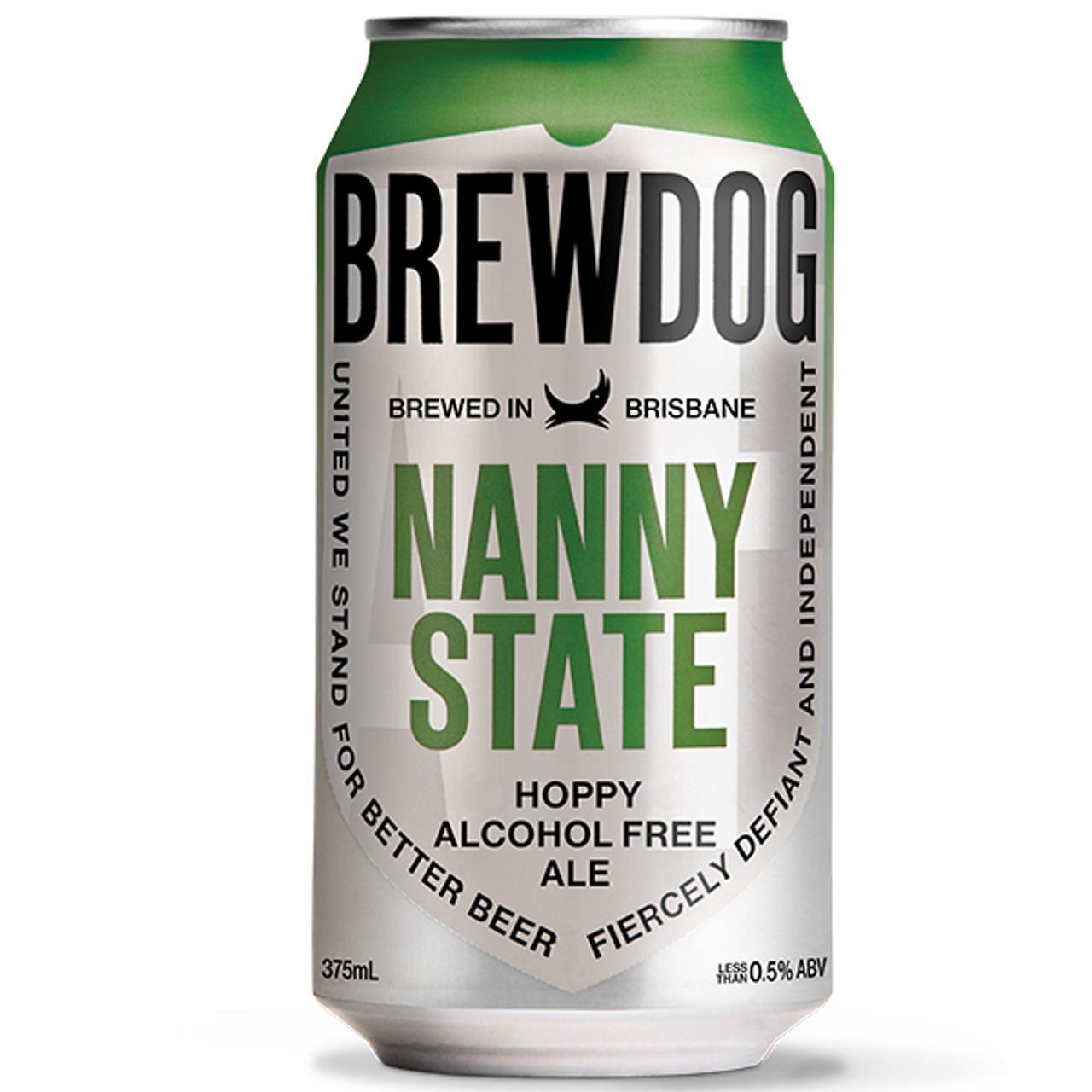 Picture of a Brewdog, Nanny State, Beer Can. This is a silver can with Green accent near the top. You can buy this non alcoholic beer online in Australia through Rat Dog Drinks.