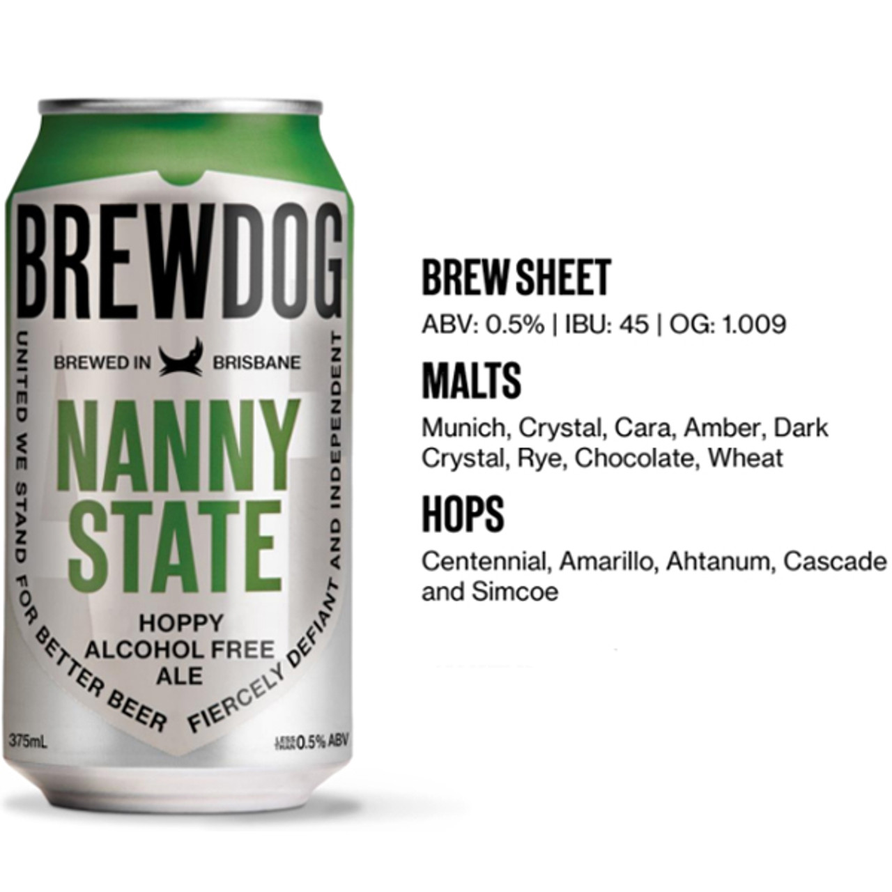 Picture of Brewdog Nanny State ingredients. Shop online at Rat Dog Drinks. Support local. Delivery Australia wide with tracking details.