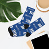 """""""White Logo/Icon"""" Blue Premium Knit Crew Socks"""