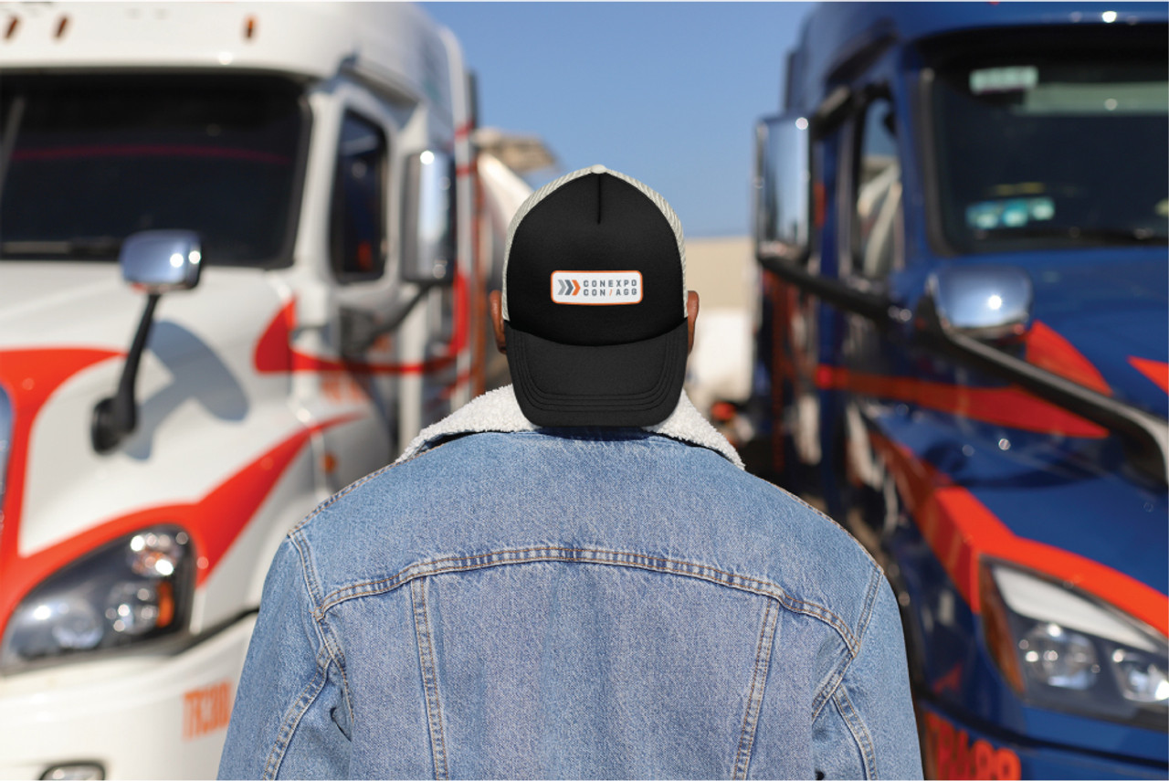 """Washed Black Mesh Trucker """"Patch"""" Hat"""