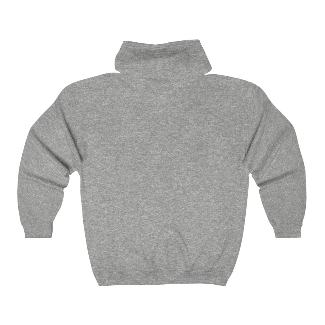 "Unisex Sports Gray ""Patch Logo"" Full Zip Hooded Sweatshirt"
