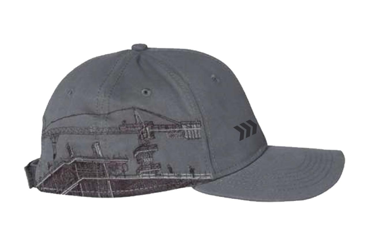 "Grey ""Tower Crane"" Brush Cotton Twill Hat"
