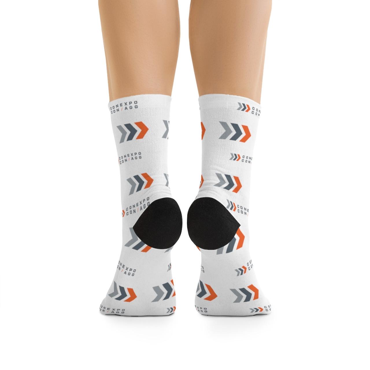 """Color Logo/Icon"" White Premium Knit Crew Socks"