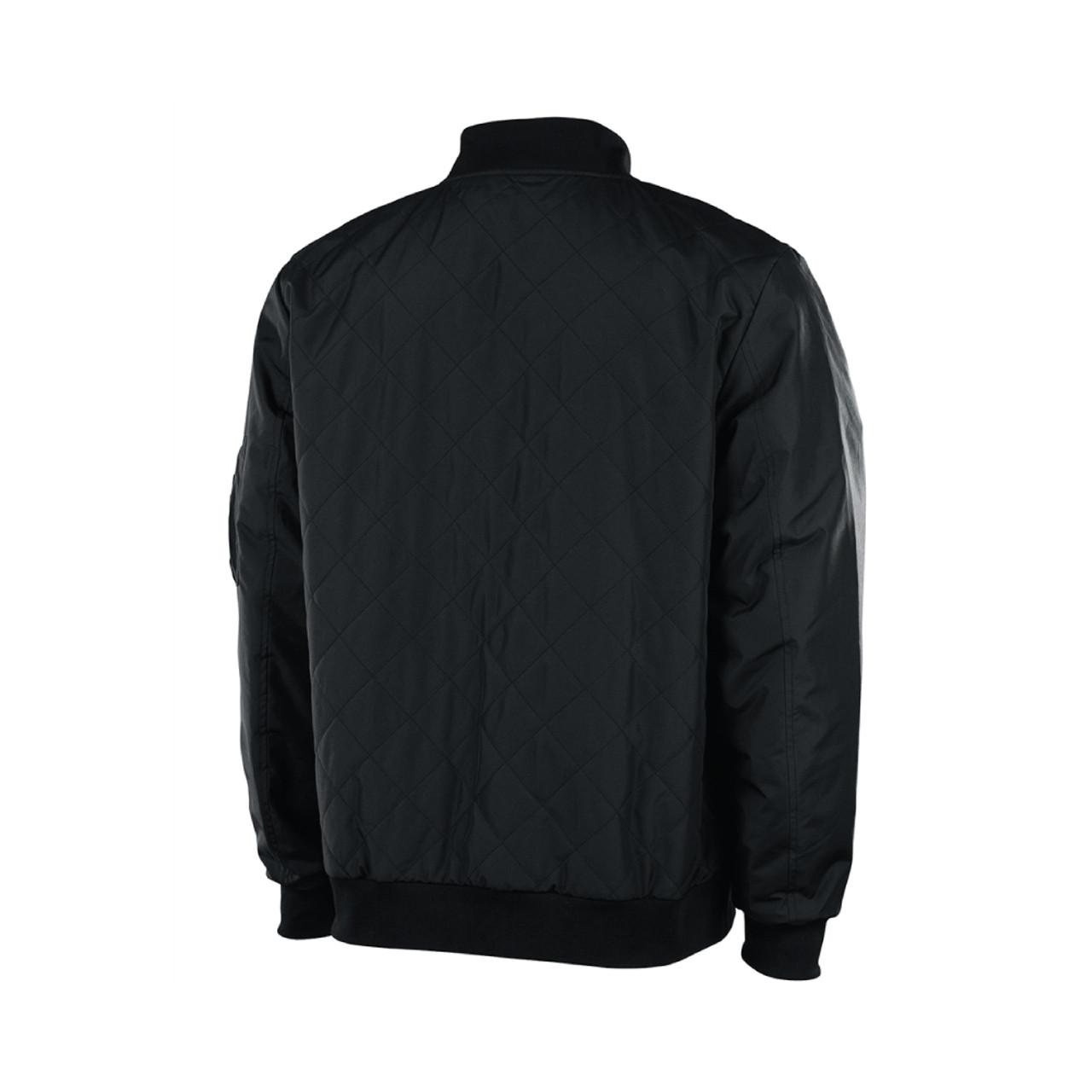 Mens Black Polyester Quilted Flight Jacket