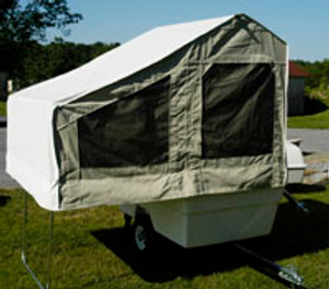 The Mini Mate tent is constructed of high-quality marine grade fabric that won't break down in sunlight and is naturally water resistant. The roof is a high-grade marine vinyl. No leaks!