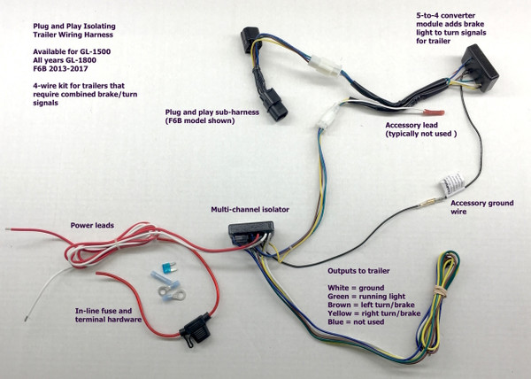 Gold Wing 4-wire trailer wiring harness. F6B plug-and-play connector shown. Connectors available for GL-1500, GL-1800 all years and F6B 2013-17