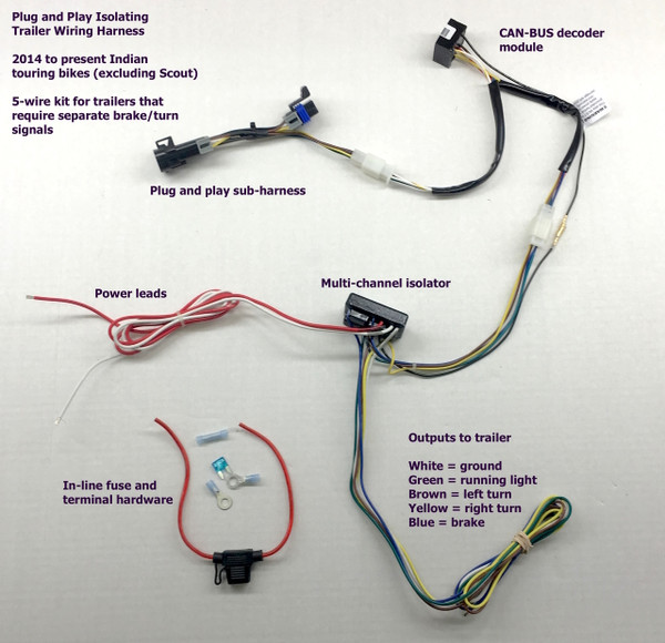 Indian 5-Wire Trailer Harness