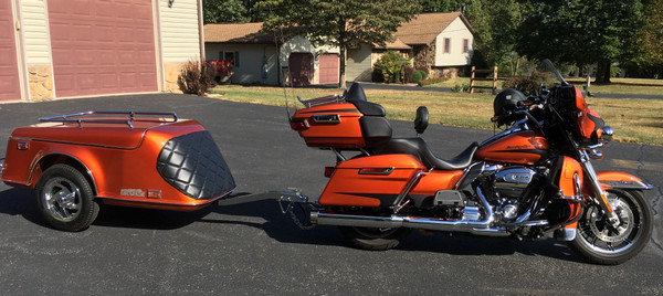 """Escapade LE in Harley's """"Scorched Orange."""" This was a custom blend by Escapade to match a special color. Color matching is something they do especially well!"""