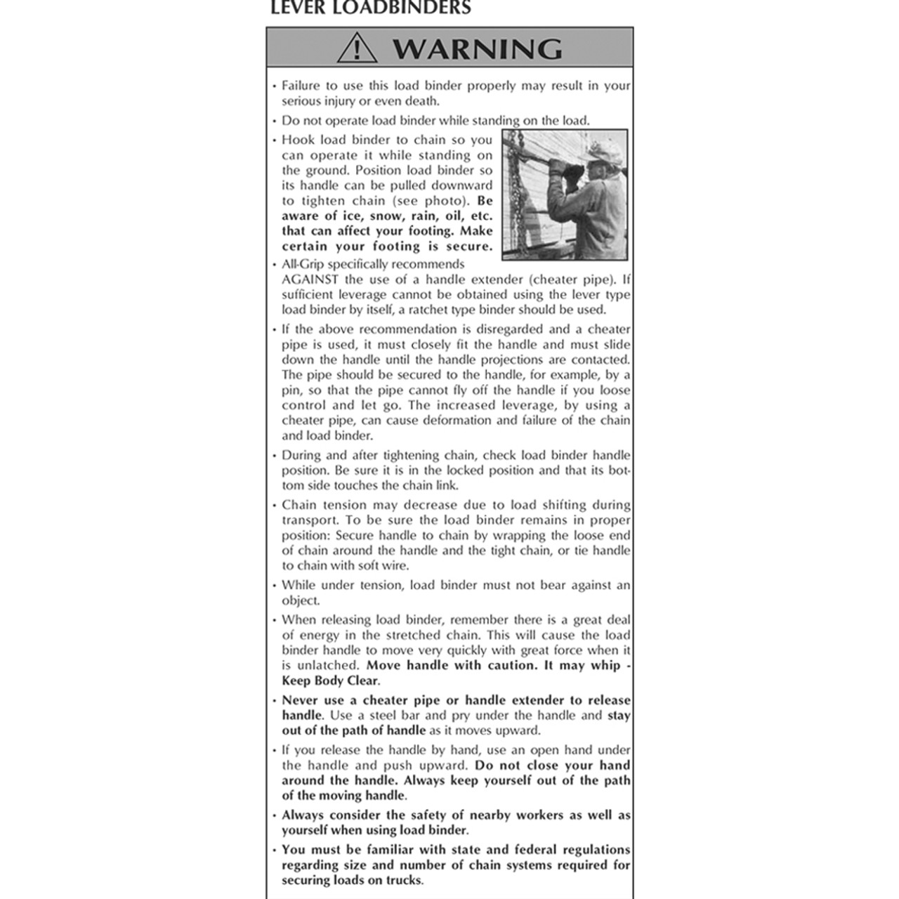 Lever Loadbinder Warnings
