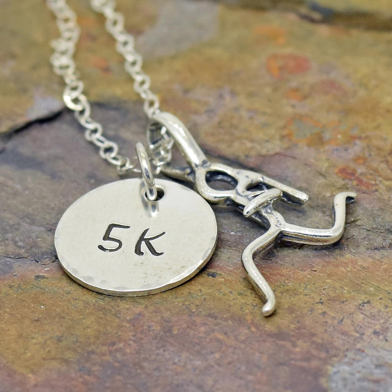 4335226c9f167 Runner's Girl Necklace, Personalized, Hand Stamped Sterling Silver