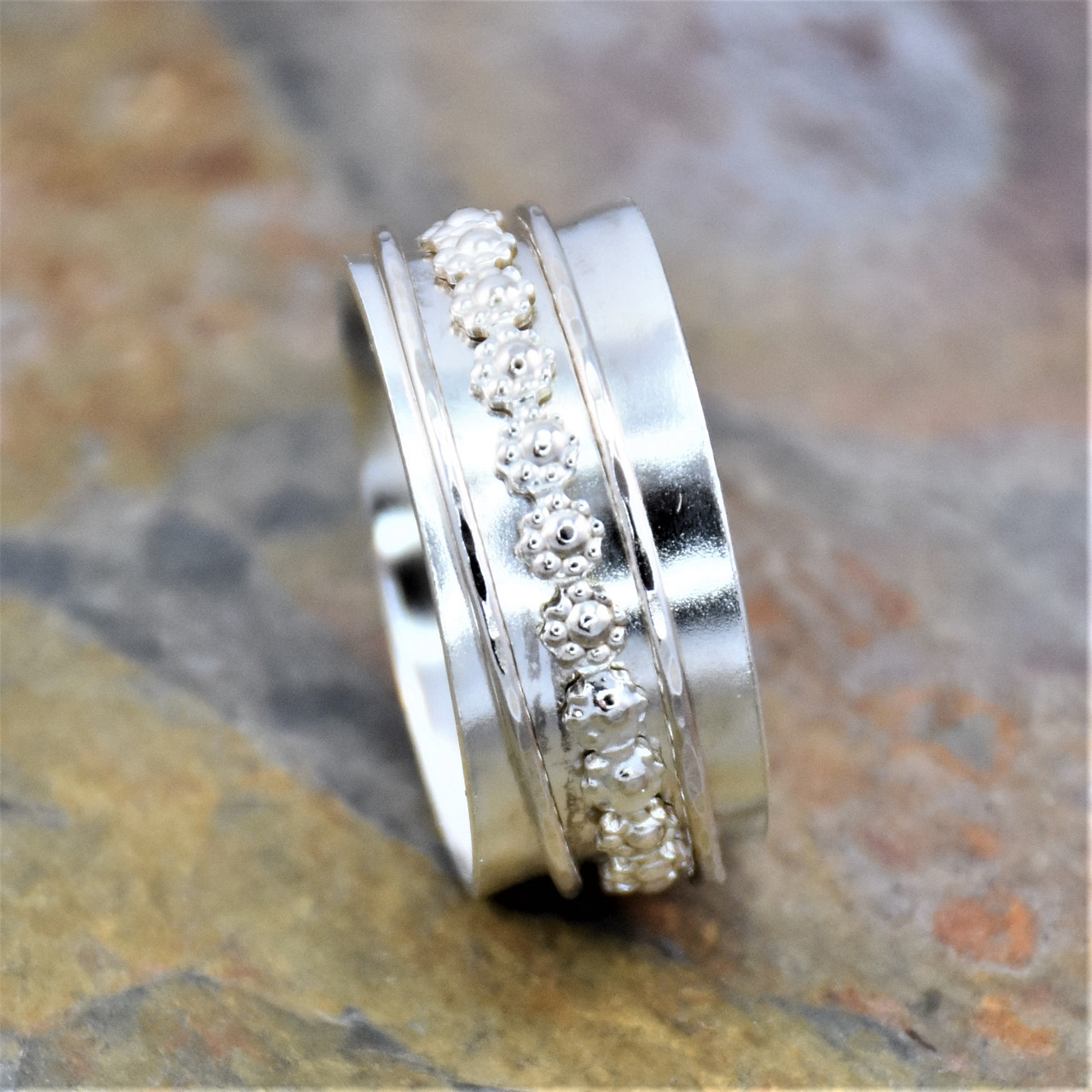 Sterling silver decorative band ring