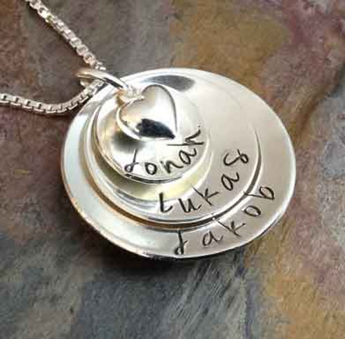 Personalized Mother's Necklace, Sterling Silver, 3 Disc with Puffy Heart - Jenna Sue Font