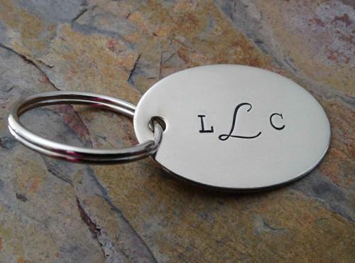 Monogrammed German Silver Oval Keychain Tag