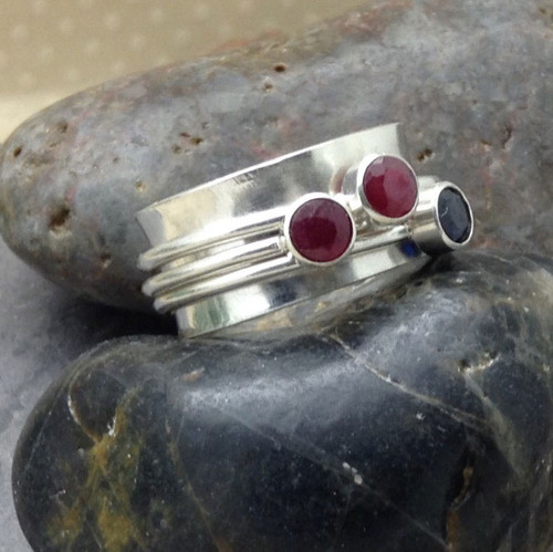 Sterling Silver Mother's Birthstone Spinner Fidget Ring - Genuine Birthstones