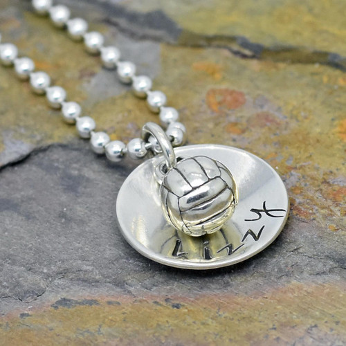 Sterling Silver Personalized Volleyball Necklaces.  Also available with soccer or softball.