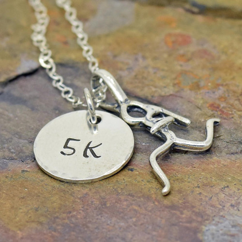 Personalized hand stamped sports necklace with number or initial.  5K, 10K, 13.1, 26.2, 0.0