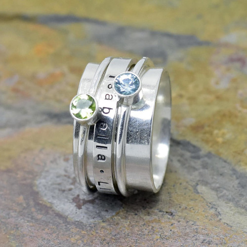 Sterling Silver Hand Stamped Mother's Ring with 2 Birthstones