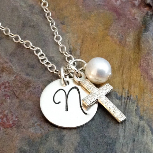 Sterling Silver Hand Stamped Initial Necklace with Textured Cross and Pearl - Daniella Font
