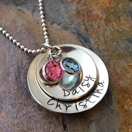 2 Disc Personalized Mother's Necklace with Channel Set Birthstones - Jenna Sue Font