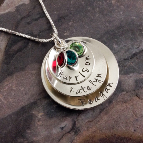 3 Disc Personalized Necklace with Channel Set Birthstones - Jenna Sue Font