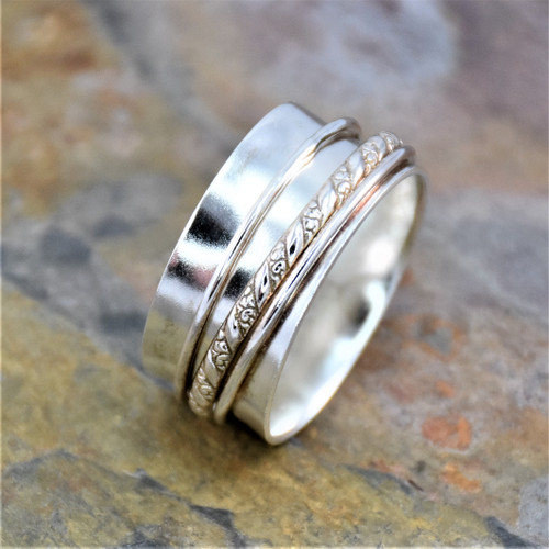 Sterling Silver Twisted Decorative Wire Spinning Band Ring