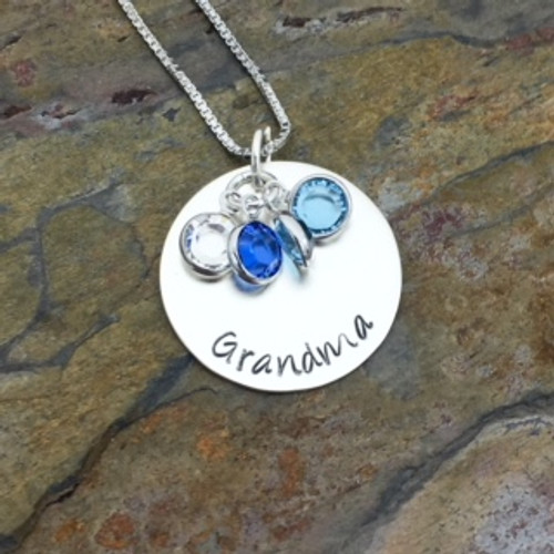 Personalized Sterling Silver Disc with Channel Set Birthstones - Shown Flat
