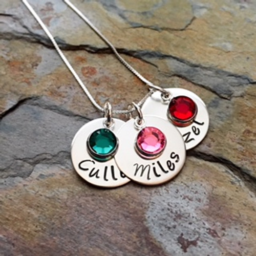 Sterling Silver Personalized Necklace with Swarovski Birthstone Pendants