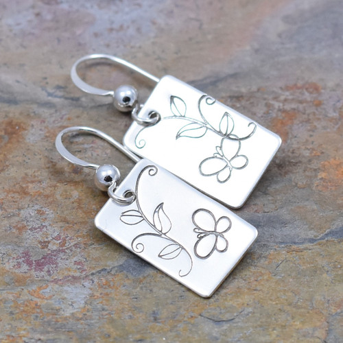 Butterfly Vine Hand Stamped Sterling Silver Earrings