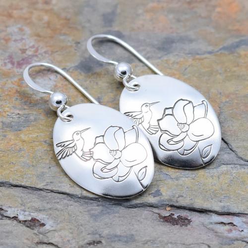 Hummingbird Magnolia Flower Sterling Silver Stamped Earrings