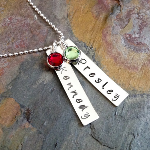 Vertical Pendant Necklace with Initial & Birthstone, Sterling Silver