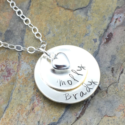 2-Layer Pendant Necklace with Heart, Sterling Silver