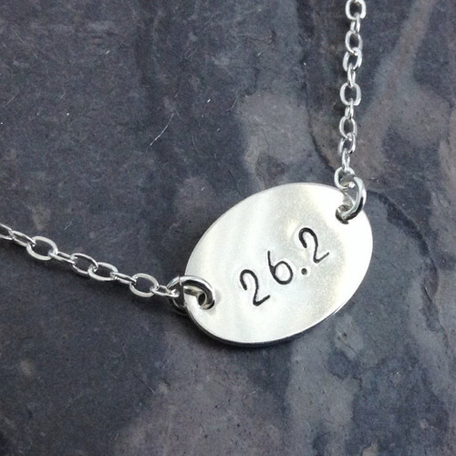 Marathon Oval 13.1 or 26.2 Necklace, Sterling Silver