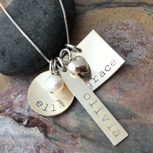 Mix & Match Name Pendant Necklace, Sterling Silver