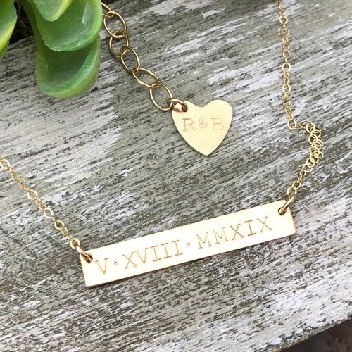 Roman Numeral Date  Bar Necklace, 14/20 Yellow Gold Filled