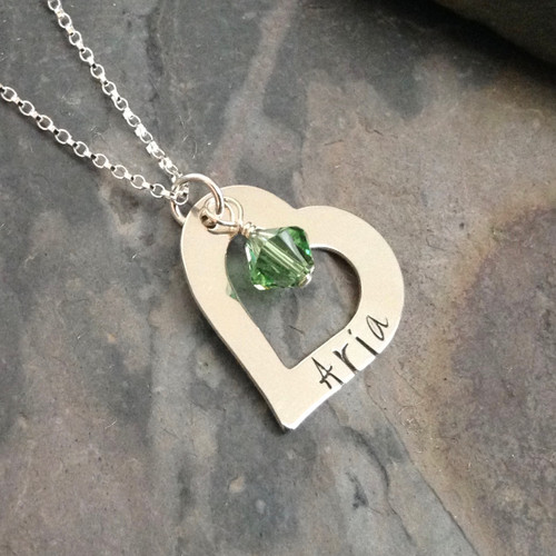 Heart Washer Name Necklace, Sterling Silver