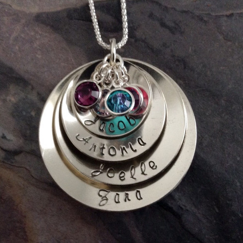 Large 4-Layer Name Necklace, Sterling Silver