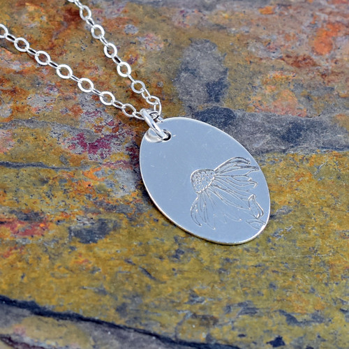 Sterling Silver Daisy or Cone Flower Charm Necklace