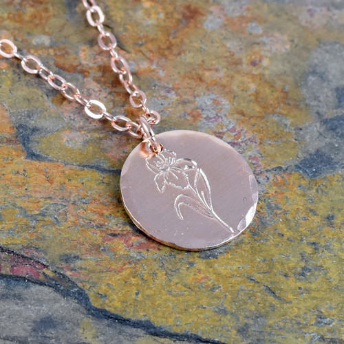 Violet Flower Necklace, Birth Flower for February, Rose Gold, Yellow Gold or Sterling Silver