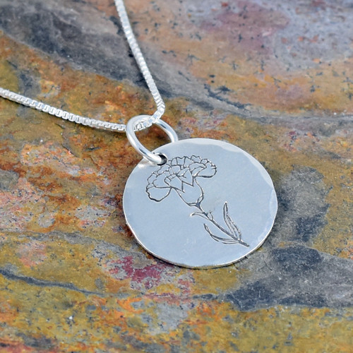 Carnation Flower Necklace, Birth Flower for January, Rose Gold, Yellow Gold or Sterling Silver