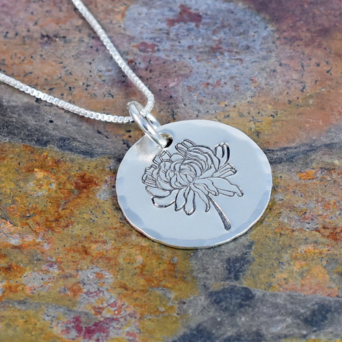 Chrysanthemum Flower Necklace, Birth Flower for November, Rose Gold, Yellow Gold or Sterling Silver