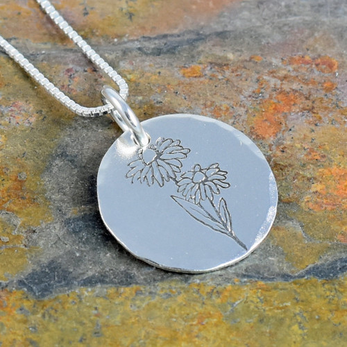Daisy Flower Necklace, Birth Flower for April, Rose Gold, Yellow Gold or Sterling Silver