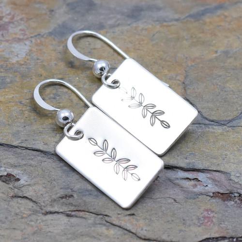 Symmetrical Vine Earrings, Sterling Silver