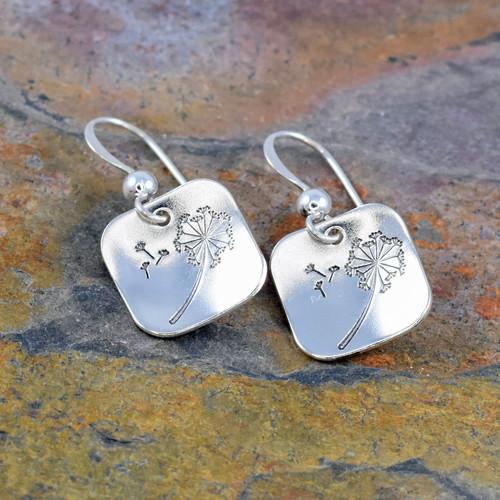 Dandelion Square Earrings, Sterling Silver