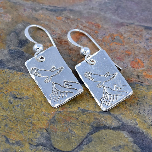 Flying Eagle over Mountain Design, Sterling Silver Earrings