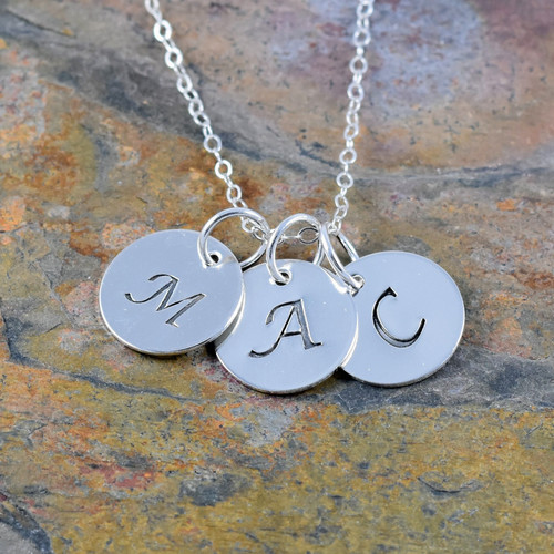 Sterling Silver Initial Necklace - Lucida Font
